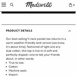 Madewell Tops - NWT Madewell Whisper Cotton V Neck Tank